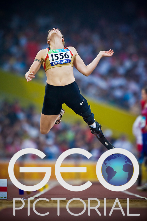 """BIENE Claudia of Germany competes in the women's F42 Long Jump during the Beijing 2008 Paralympic Games; National """"Bird's Nest"""" Stadium, Beijing Olympic Green, China, 8th September 2008;"""