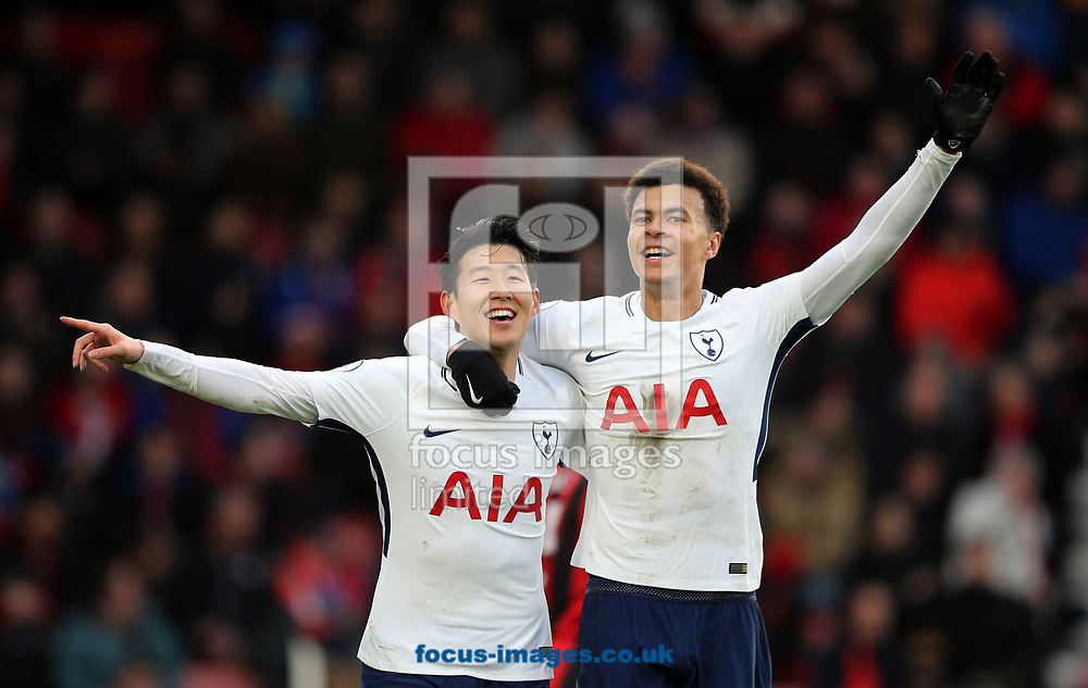 Son Heung-Min (l) of Tottenham Hotspur celebrates scoring to make it 1-2 with Dele Alli during the Premier League match at the Vitality Stadium, Bournemouth<br /> Picture by Simon Moore/Focus Images Ltd 07807 671782<br /> 11/03/2018