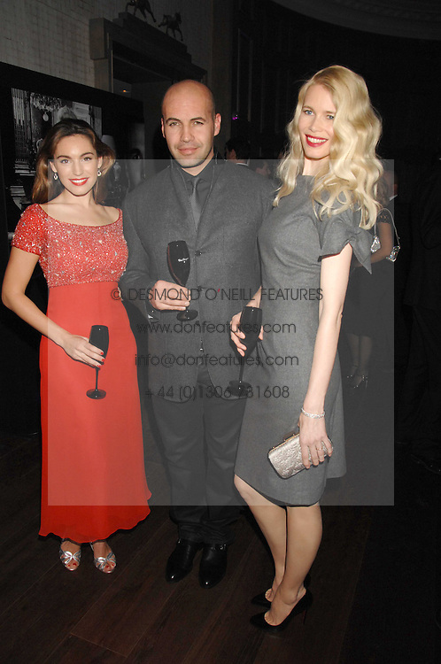 Left to right, KELLY BROOK, BILLY ZANE and CLAUDIA SCHIFFER at a party to launch the Dom Perignon OEotheque 1995 held at The Landau, Portland Place, London W1 on 26th February 2008.<br />