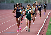 May 19, 2018; Torrance, CA, USA; Toni Ayala of Chino Hills defeats Breanna Bernard Joseph of Roosevelt on the anchor leg of the Division I girls 4 x 400m relay, 3:47.47 to 3:47.50, during the CIF Southern Section Finals  at El Camino College.