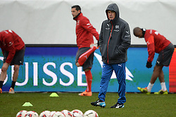 04.03.2014, AFG Arena, St. Gallen, SUI, Training der Schweizer Nationalmannschaft, vor dem Testspiel gegen Kroatien, im Bild Trainer Ottmar Hitzfeld (SUI) // during a practice session of swiss national football team prior to the international frindley against Croatia at the AFG Arena in St. Gallen, Switzerland on 2014/03/04. EXPA Pictures © 2014, PhotoCredit: EXPA/ Freshfocus/ Andy Mueller<br /> <br /> *****ATTENTION - for AUT, SLO, CRO, SRB, BIH, MAZ only*****