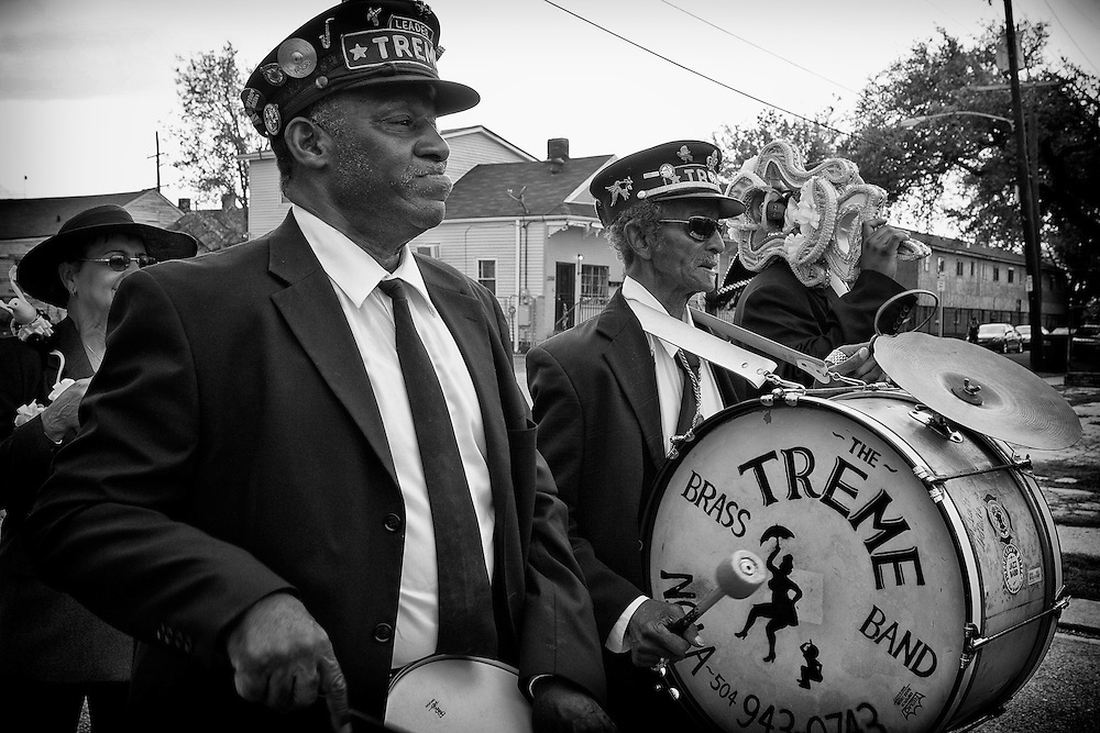 """(L-R) Drummer Bernard """"Bunchy"""" Johnson and Lionel Batiste of the Treme Brass Band, known as Uncle Lionel, on the set of HBO's """"TREME"""" (The Pilot) on 31 March 2009 in New Orleans, Louisiana. USA."""