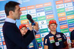 Jakov Fak and Klemen Bauer during press conference of Slovenian Nordic Ski Cross country team before new season 2019/20, on Novamber 12, 2019, in Petrol, Ljubljana, Slovenia. Photo Grega Valancic / Sportida