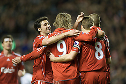 LIVERPOOL, ENGLAND - Wednesday, March 5, 2008: Liverpool's Fernando Torres celebrates scoring his, and Liverpool's second goal with team-mates captain Steven Gerrard MBE, Alvaro Arbeloa and Martin Skrtel during the Premiership match against West Ham United at Anfield. (Photo by David Rawcliffe/Propaganda)