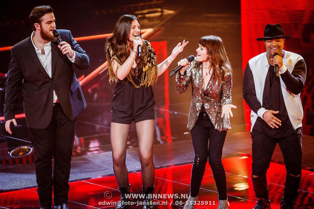 NLD/Hilversum/20160129 - Finale The Voice of Holland 2016, Dave Vermeulen. Maan, Jennie Lena, Brace