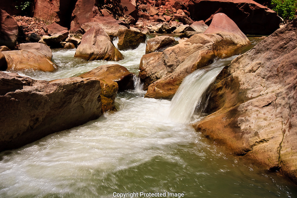 Small rapid in Virgin river in Zion National Park Utah.