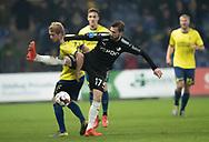 FODBOLD: Nikolai Laursen (Brøndby IF) og Kevin Conboy (Randers FC)  under kampen i Superligaen mellem Brøndby IF og Randers FC den 24. februar 2019 på Brøndby Stadion. Foto: Claus Birch.