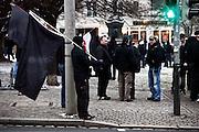 Dresden | 19.11.2011..Neonazis aus ganz Deutschland und aus anderen Ländern Europas planten in Dresden wie in den vergangenen Jahren eine Demonstration (Trauermarsch), um an die Bombardierung Dresdens am 13.02.1945 zu erinnern. Der Tag entwickelte sich für die Neonazis zum Fiasko, über 20000 Demonstranten verhinderten mit Mahnwachen, Demonstrationen und Blockaden die Demo-Versuche der Neonazis..Hier: Neonazis haben sich im Dresdner Ortsteil Plauen versammelt, hier stehen sie auf einem Platz in Plauen wartend herum, eine Demo konnten sie wegen tausender Gegendemonstranten nicht durchführen...©peter-juelich.com..[No Model Release | No Property Release]