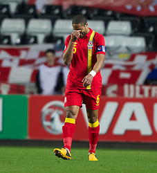 SWANSEA, WALES - Tuesday, March 26, 2013: Wales' captain Ashley Williams shows a look of dejection during the 2014 FIFA World Cup Brazil Qualifying Group A match against Croatia at the Liberty Stadium. (Pic by Kieran McManus/Propaganda)