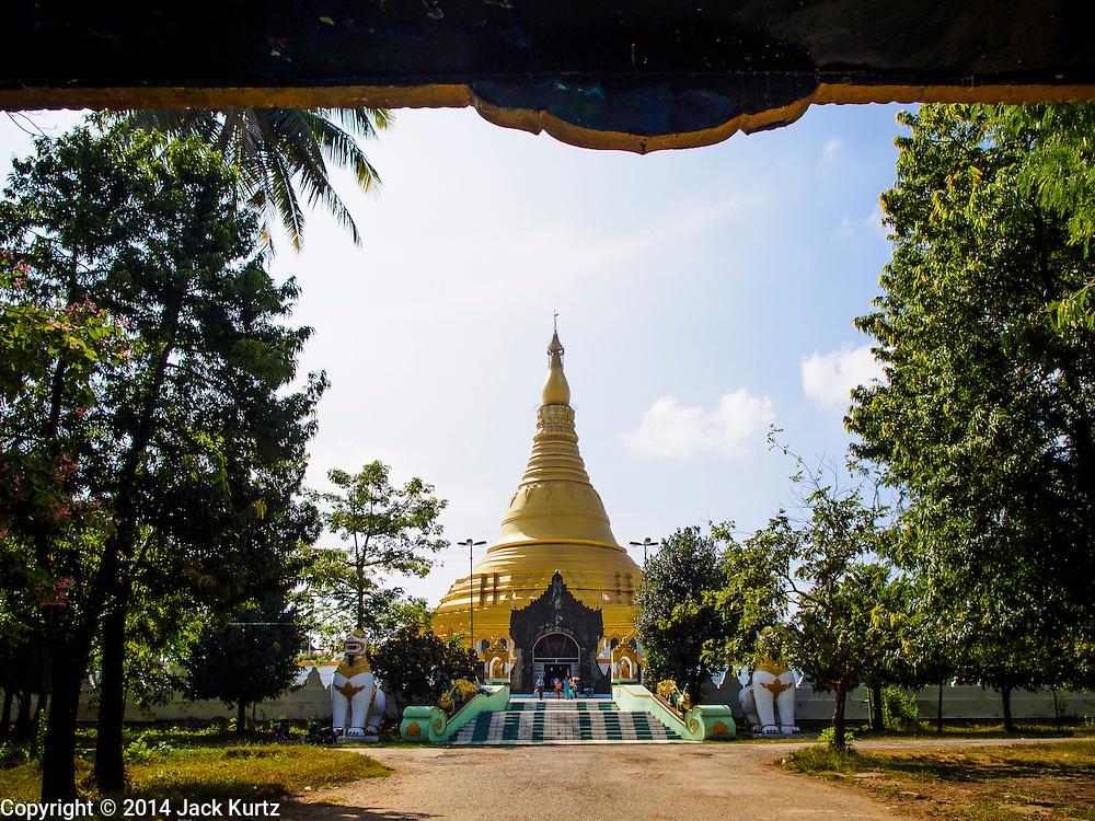 09 NOVEMBER 2014 - SITTWE, RAKHINE, MYANMAR:  Lokananda Paya, the main Buddhist pagoda (paya) in Sittwe, Myanmar. Sittwe is a small town in the Myanmar state of Rakhine, on the Bay of Bengal.  PHOTO BY JACK KURTZ