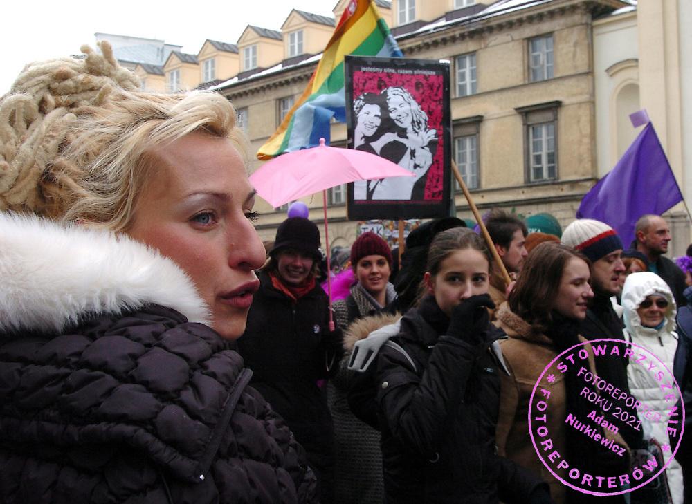 """n/z.: Katarzyna Wladyka podczas kobiecej manifestacji """" Manifa 2005 """" z okazji 8. marca ( Dzien Kobiet ) w Warszawie. Polska , Warszawa , 6-03-2005 , fot.: Adam Nurkiewicz / wrofoto..Katarzyna Wladyka during demonstration """" Manifa 2005 """" in Warsaw. Houndreds of women demonstrated as part of the International Women's Day celebrations. March 6, 2005 , Poland , Warsaw ( Photo by Adam Nurkiewicz / wrofoto )"""