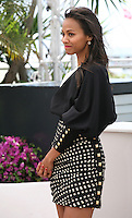 Actress Zoé Saldana.at the Blood Ties film photocall at the Cannes Film Festival Monday 20th May 2013