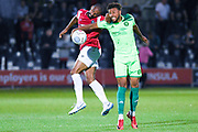 Johnny Edwards of Halifax Town (10) wins a header during the Vanarama National League match between Salford City and FC Halifax Town at Moor Lane, Salford, United Kingdom on 14 August 2018.