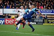 Peterborough United midfielder Joe Ward (15) gets in a shot during the EFL Sky Bet League 1 match between Wycombe Wanderers and Peterborough United at Adams Park, High Wycombe, England on 3 November 2018.