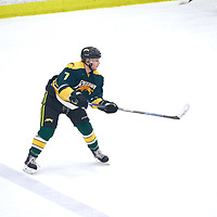 3rd year defence man, Tyler King (7)  of the Regina Cougars during the Men's Hockey Home Game on Sat Jan 19 at Co-operators Center. Credit: Arthur Ward/Arthur Images