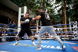 Andy Ruiz Jr. (left) during the public work-out at the Brookfield Place, New York.
