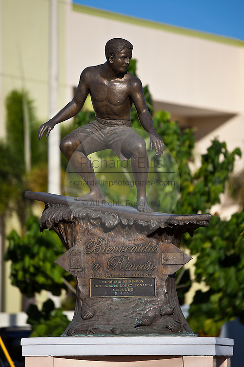 Bronze statue of a surfer in Rincon, Puerto Rico. Rincon is one of the surf capitals of the world.
