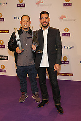 "Joe Hahn and Mike Shinoda of Linkin Park winning a price as best international CrossOver, German ""Echo"" music award in Messegelaende, Berlin, Germany, 21, March 2013. Photo by Elliott Franks / i-Images..."