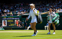 LONDON, ENGLAND - Saturday, June 28, 2008: Caroline Wozniacki (DEN) and Jelena Jankovic (SRB) walk on court for their third round match on day six of the Wimbledon Lawn Tennis Championships at the All England Lawn Tennis and Croquet Club. (Photo by David Rawcliffe/Propaganda)