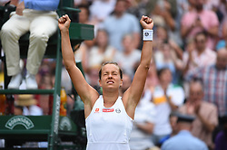 Barbora Strycova (CZE) plays her quarter final round match at the 2019 Wimbledon Championships at the AELTC in London, UK, on July 9, 2019. Photo by Corinne Dubreuil/ABACAPRESS.COM