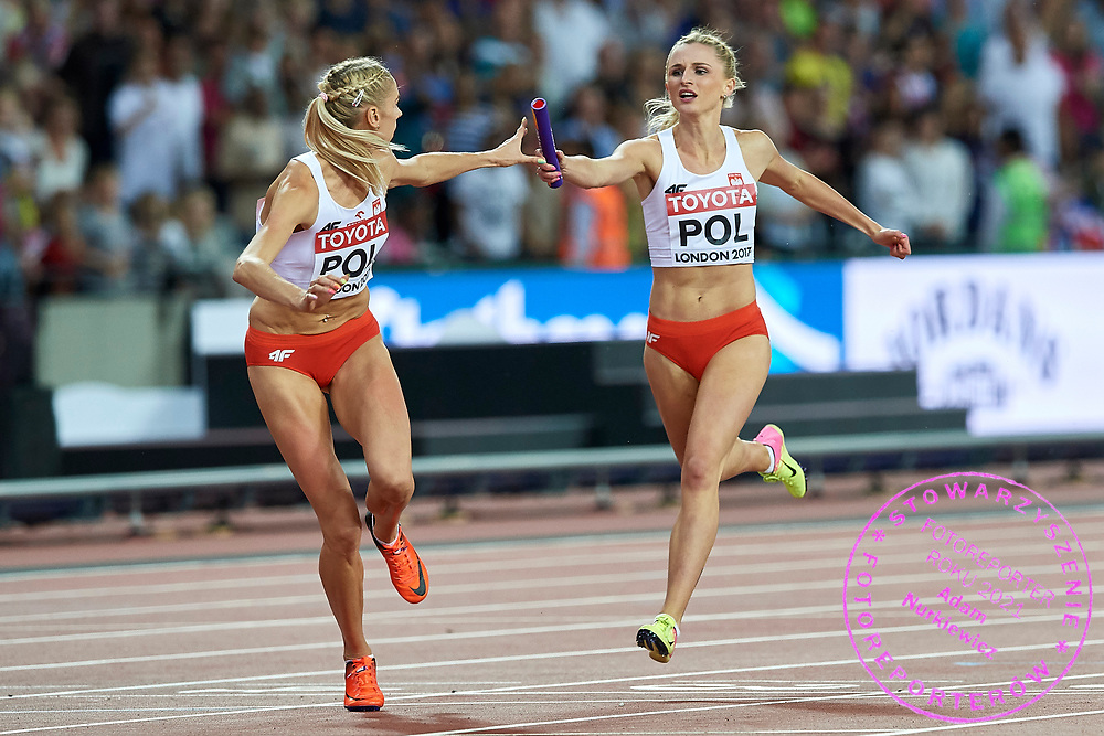 Great Britain, London - 2017 August 13: (L) Iga Baumgart (BKS Bydgoszcz) of Poland and (R) Malgorzata Holub (Baltyk Koszalin) of Poland compete in women's 4x400 meters relay final during IAAF World Championships London 2017 Day 10 at London Stadium on August 13, 2017 in London, Great Britain.<br /> <br /> Mandatory credit:<br /> Photo by © Adam Nurkiewicz<br /> <br /> Adam Nurkiewicz declares that he has no rights to the image of people at the photographs of his authorship.<br /> <br /> Picture also available in RAW (NEF) or TIFF format on special request.<br /> <br /> Any editorial, commercial or promotional use requires written permission from the author of image.