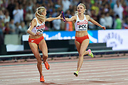 Great Britain, London - 2017 August 13: (L) Iga Baumgart (BKS Bydgoszcz) of Poland and (R) Malgorzata Holub (Baltyk Koszalin) of Poland compete in women&rsquo;s 4x400 meters relay final during IAAF World Championships London 2017 Day 10 at London Stadium on August 13, 2017 in London, Great Britain.<br /> <br /> Mandatory credit:<br /> Photo by &copy; Adam Nurkiewicz<br /> <br /> Adam Nurkiewicz declares that he has no rights to the image of people at the photographs of his authorship.<br /> <br /> Picture also available in RAW (NEF) or TIFF format on special request.<br /> <br /> Any editorial, commercial or promotional use requires written permission from the author of image.