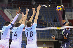 December 16, 2017 - Krakow, Poland - Yoandry Leal Hidalgo (9) of Sada Cruzeiro Volei in action against  and Wilfredo Leon Venero (9), Alexander Gutsalyuk (14) and Maxim Mikhaylov (18) of VC Zenit Kazan  during the match between Sada Cruzeiro Volei and VC Zenit kazan during the semi finals of Volleyball Mens Club World Championship 2017 in Tauron Arena. (Credit Image: © Omar Marques/SOPA via ZUMA Wire)