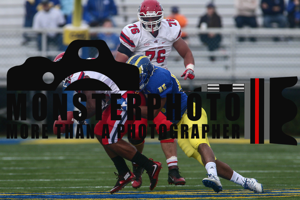 Stony Brook running back JORDAN GOWINS (23) fumbles the ball at the 49 yard line during a week eight game between the Delaware Blue Hens and the Stony Brook Seawolves, Saturday, Oct. 22, 2016 at Tubby Raymond Field at Delaware Stadium in Newark, DE.