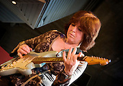 Deirdre Cartwright with a blue 1961 Fender Stratocaster. Performing in the Frontroom at the Friday Tonic series held regularly on Fridays at Southbank centre in London