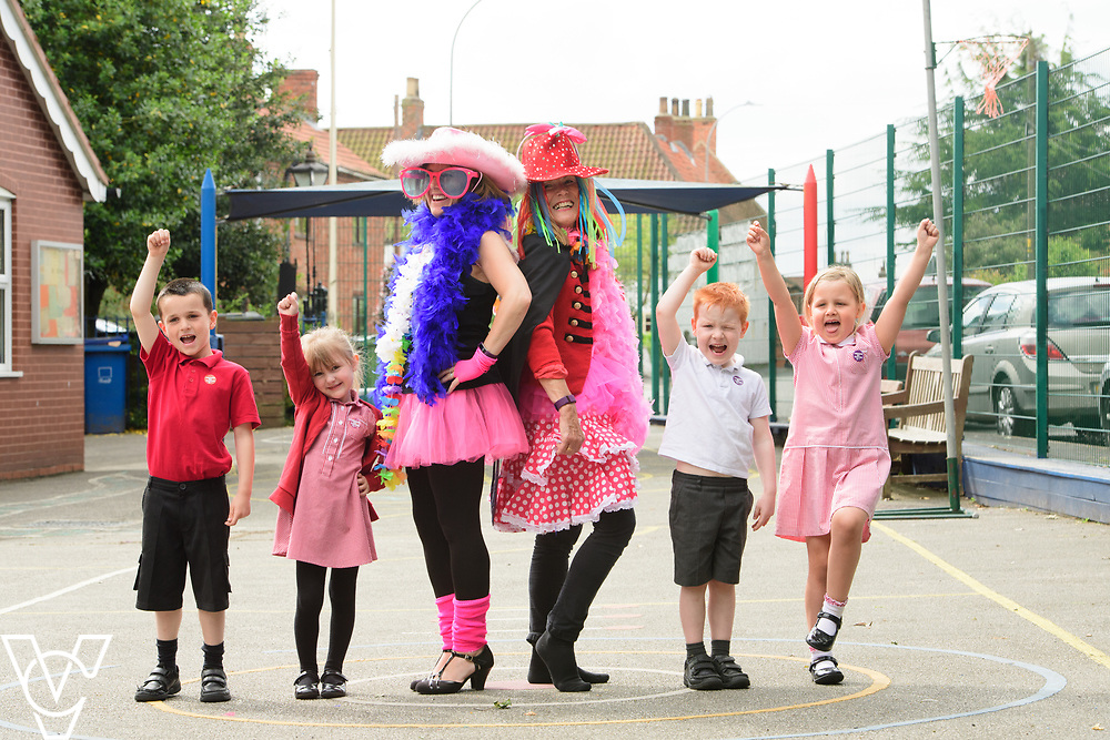Newton on Trent Primary School, in Newton-on-Trent, near Lincoln, have been taking part in Oxfam's Dressed By The Kids Day.  Picture is Sam Wilks, third in from left, and Lynda Mullalley, fourth in from left, after being dressed by pupils as part of Oxfam's Dressed By The Kids Day.<br /> <br /> Picture: Chris Vaughan Photography for Oxfam<br /> Date: June 13, 2017