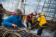 Antarctica, February 2016. 45 knot winds turn the infamous Drake Passage into a boiling mass of large waves and tilting decks, stretching the abilities of the voyage crew to a maximum. Dutch Tallship, Bark Europa, explores Antarctica during a 25 day sailing expedition. Photo by Frits Meyst / MeystPhoto.com