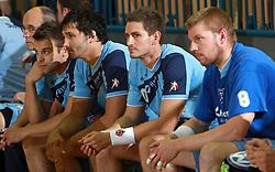 Team Slovenia (Brumen, Spiler, Kavas, Mlakar) at  handball game between men national teams of Slovenia and Slovakia, first qualification game for the World Chamionship 2009, on June 7, 2008, in Arena Zlatorog, Celje, Slovenija. Result: 33 : 33. (Photo by Vid Ponikvar / Sportal Images)