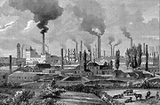 Bird's-eye view of Krupp's Works at Essen where armaments manufactured.     Wood engraving 1896