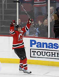 Jan 22, 2010; Newark, NJ, USA; New Jersey Devils left wing Zach Parise (9) celebrates his goal during the first period at the Prudential Center.
