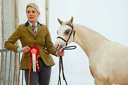 © Licensed to London News Pictures. 25/11/2019. Llanelwedd, Powys, Wales, UK. Horse events take place on the first day of the Royal Welsh Winter Fair in Powys,  UK. Photo credit: Graham M. Lawrence/LNP