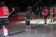 KELOWNA, CANADA - SEPTEMBER 28: Pepsi Player of the Game in the lineup with Roman Basran #30 of the Kelowna Rockets, Carson Sass #7 of the Kelowna Rockets, Mark Liwiski #9 of the Kelowna Rockets, Alex Swetlikoff #17 of the Kelowna Rockets at the Kelowna Rockets game on September 28, 2019 at Prospera Place in Kelowna, British Columbia, Canada. (Photo By Cindy Rogers/Nyasa Photography, *** Local Caption ***