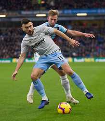 Robert Snodgrass of West Ham United (L) and Charlie Taylor of Burnley in action - Mandatory by-line: Jack Phillips/JMP - 30/12/2018 - FOOTBALL - Turf Moor - Burnley, England - Burnley v West Ham United - {event}