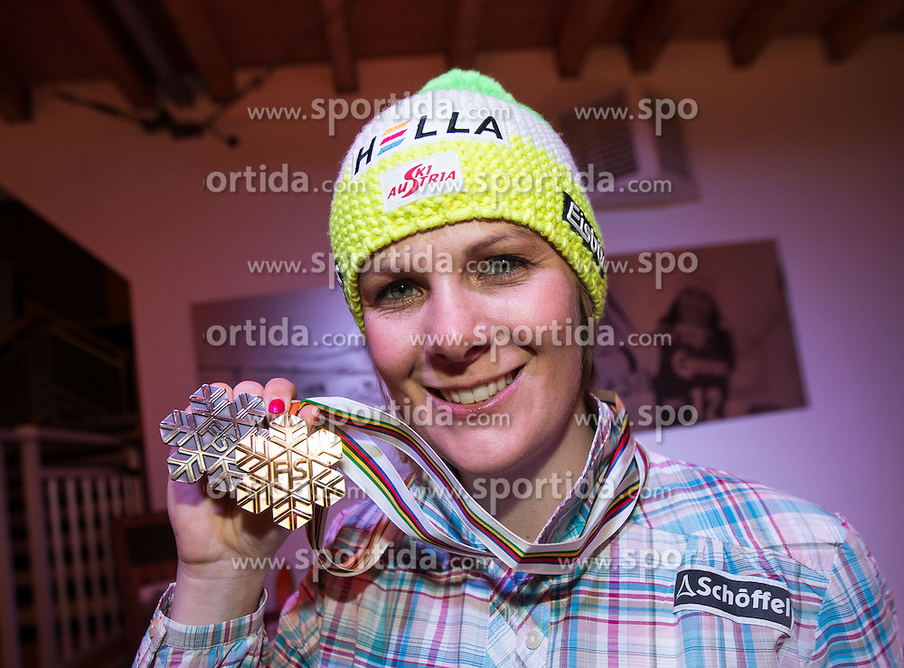 13.02.2013, Tirolberg, Schladming, AUT, FIS Weltmeisterschaften Ski Alpin, OeSV Night, im Bild Nicole Hosp (AUT) // at the OeSV Night during FIS Ski World Championships 2013 at the Tirolberg, Schladming, Austria on 2013/02/13. EXPA Pictures © 2013, PhotoCredit: EXPA/ Johann Groder