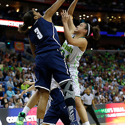 April 7, 2013; New Orleans, LA, USA; Connecticut Huskies forward Morgan Tuck (3) blocks the shot of Notre Dame Fighting Irish guard Kayla McBride (21) during the first half in the semifinals during the 2013 NCAA womens Final Four at the New Orleans Arena. Mandatory Credit: Derick E. Hingle-USA TODAY Sports