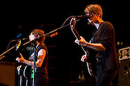 Tegan and Sara perform during the San Diego Street Scene festival in downtown San Diego on September 20, 2008.