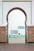 MARRAKESH, MOROCCO - 19TH APRIL 2016 - Doorway to the Zaouia / zawiya burial tomb shrine site of Sidi Abdullah al-Ghazwani, Marrakesh, Morocco.