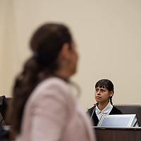 Hannah Jordan, one of the defense counsels witnesses, is cross-examined by the prosecution on Monday afternoon of the Green trial at the 13th Judicial District Courthouse in Grants.