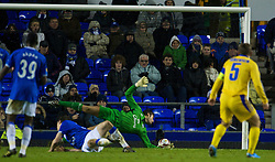 LIVERPOOL, ENGLAND - Thursday, December 17, 2009: FC BATE Borisov's Aliaksandr Yurevich scores the winning goal as Everton's goalkeeper Carlo Nash stretches during the UEFA Europa League Group I match at Goodison Park. (Pic by David Rawcliffe/Propaganda)