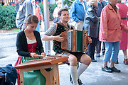 Tyrolean musician in traditional dress. Photographed in Neustift im Stubaital Tyrol, Austria.