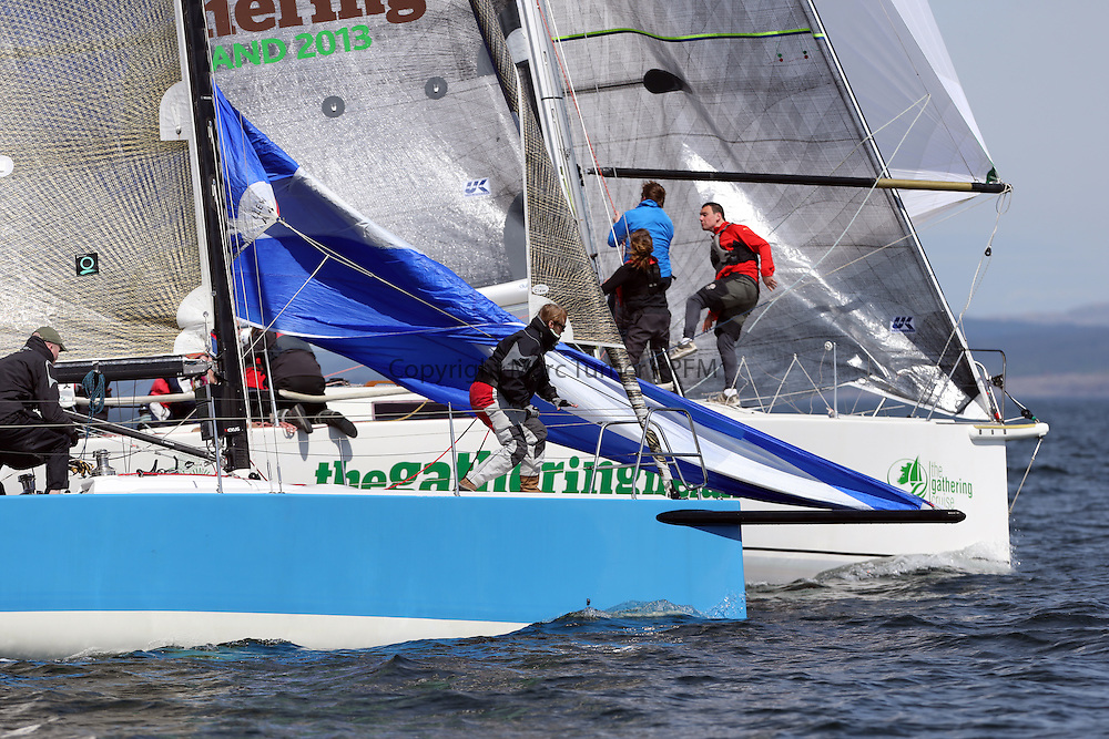 The Clyde Cruising Club's Scottish Series held on Loch Fyne by Tarbert. Day 2 racing in a perfect southerly..Bow work at the windward mark