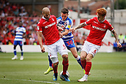 Reading midfielder Liam Kelly (38) can't find a way through during the EFL Sky Bet Championship match between Nottingham Forest and Reading at the City Ground, Nottingham, England on 11 August 2018.