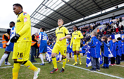 COLCHESTER, ENGLAND - Saturday, February 23, 2013: Tranmere Rovers' Jean-Louis Akpa Akpro, Max Power and Ian Goodison enter the pitch before the Football League One match against Colchester United at the Colchester Community Stadium. (Pic by Vegard Grott/Propaganda)
