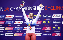 Russia's Daria Shmeleva celebrates after winning Gold in the Women's 500m Time Trial Final during day five of the 2018 European Championships at the Sir Chris Hoy Velodrome, Glasgow.