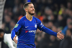 January 24, 2019 - London, England, United Kingdom - Chelsea midfielder Eden Hazard celebrates his goal during the Carabao Cup match between Chelsea and Tottenham Hotspur at Stamford Bridge, London on Thursday 24th January 2019. (Credit Image: © Mark Fletcher/NurPhoto via ZUMA Press)