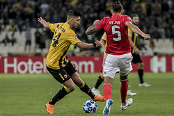 ATHENS, Oct. 3, 2018  AEK's Tasos Bakasetas (L) vies for the ball with Benfica's Ljubomir Fejsa during the second round match of Group E in the UEFA Champions League between AEK Athens and Benfica at Olympic Stadium in Athens, Greece, Oct. 2, 2018. Benfica won 3-2. (Credit Image: © Panagiotis Moschandreou/Xinhua via ZUMA Wire)